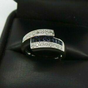 Bypass Engagement Wedding Glamorous Men's Ring 14K White Gold 2 Ct Blue Sapphire