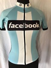 RARE Panache Cycling Bike Race Jersey FACEBOOK Blue Black Full Zipper Adult XS