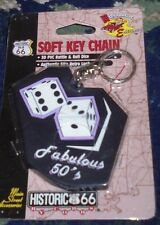 NEW NIP Fabulous 50's key chain Historic 66 Main Street Accessories dice design