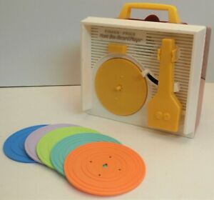 Vintage Fisher-Price Music Box Record Player & 5 Double Sided Records - Working