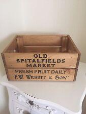 Wooden Old Spitalfields Market Vintage Wine Crate Box Storage Shabby Chic Retro