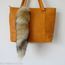 New Real Animal Large Luxury Fox Tail Fur Car Keychains Bag Tag  Cosplay Tail