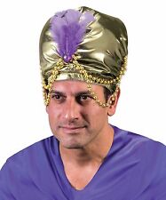 Large Gold Turban Indian Bollywood Magician Costume Mens Adult Feather Hat NEW