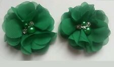 Girls small 2 inch Emerald dark Green volie Hair clips.X2 pearl diamante centre