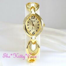OMAX Ladies SEIKO Movt Unusual Enamel Gold PL Watch W/ Swarovski Crystals Je0572