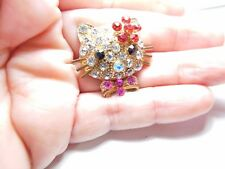 Large Rhinestone Studded Hello Kitty Ring Gold Tone Metal Adjustable