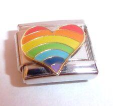 Arco Iris Corazón encanto italiano-Orgullo Gay Love 9mm se adapta Classic pulseras de arranque