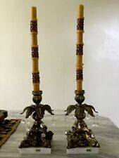 2 Mid-Century Italian Marble & Brass Candleholders With Crystals & Free Candles