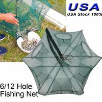 6/12 Hole Automatic Fishing Bait Trap Crab Net Shrimp Cast Cage Fish Foldable