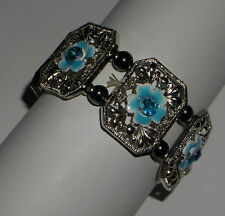 WIDE TURQUOISE ENAMEL FLOWER BRACELET SILVER P FILIGREE ACRY CRYSTAL ELASTICATED