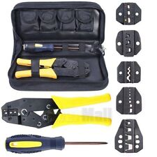 Insulated Terminals Ferrules Crimping Plier Ratcheting Crimper Tool W/ 5 Dies US
