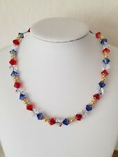 Red White And Blue Crystal And Gold Beaded Leather Choker With Extender Chain