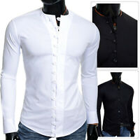 Mens Collarless Casual Shirt Crew Neck Slim Fit Stretchy Cotton Fitness Loops