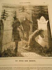Caricature 1872 - Le Jour des Morts Cigit Césarisme Cigit le Droit Divin