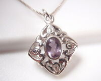 Faceted Amethyst Filigree 925 Sterling Silver Pendant Corona Sun Jewelry