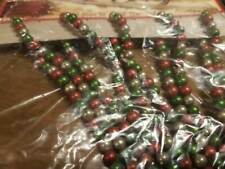 New! Ragon House Aged Beaded Garland Red Green Silver 6 ft.