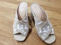 M&S Brand New Neutral Hessian Sandals Size 6.5 Eur 40
