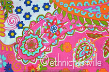 3 Yard Cotton Pink Paisley Indian Hand Block Print Sewing Material Craft