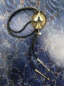 Peter Macchiarini Silver and Brass Bolo Tie with Wood Inlays