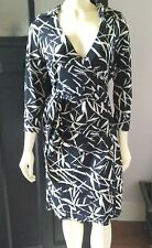 SNAP Sz M  Wrap Dress-Black and White Jersey Knit-3/4 Sleeves-USA Made