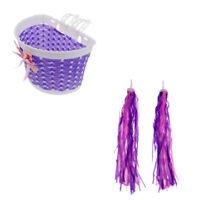 Bike Front Basket Case + Tricycle Streamers Handlebar Grips Tassels Purple