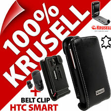 New Krusell Orbit Flex GENUINE LEATHER Flip Case Cover + Belt Clip for HTC Smart