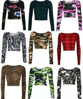 WOMENS LADIES LONG SLEEVE TARTAN CAMOUFLAGE ANIMAL LEOPARD PRINT CROP TOP VEST