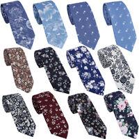 Men Fashion Cotton Slim Skinny Wedding Party Necktie Print Floral Ties Father