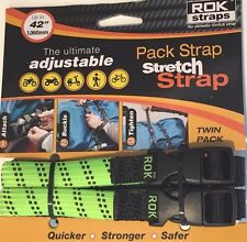 "ROK Straps Motorcycle Luggage Tie Down Adjustable Straps 12""-42"" x 5/8"" Grn/Blk"