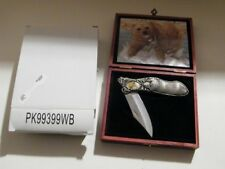 All Metal Knife 7FF003 YC99910 with Bear Picture in Wooden Box Brand new in box