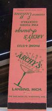 Rare Vintage Matchbook Cover V1 Lansing Michigan Archy's Lounge Fine Cocktails