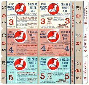 1960 Chicago White Sox Phantom World Series Tickets Block of 3 NRMT