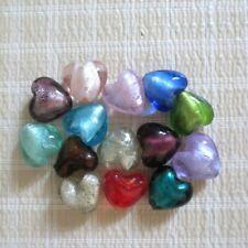 20mm Assorted Lampwork Glass Silver Foil Heart Beads