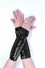 Black Ladies Sequin Arm Sleeves - Fancy Dress Silver Accessory Disco 1970s