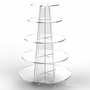 Displaypro 5 Tier Acrylic Cupcake Display Stand Cup Cake Party Holder - Round
