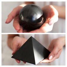 Shungite Pyramid 100 + Shungite Sphere 100 + stand Polished Protection Healing