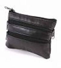 New Small  Black Soft Leather Zipped Coin Purses/Wallets Key Ring 3 pockets