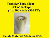 """1 Roll 6"""" x 300 ft  Application Transfer Tape Vinyl Signs R TAPE  Clear at 65"""