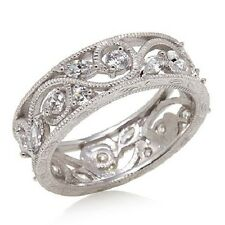 XAVIER ABSOLUTE FLORAL ETERNITY STERLING SILVER BAND RING SIZE 7 HSN SOLD OUT