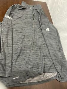 Nike Tiger Woods Collection 1/4 Button Pullover MSU Grey 2XL S576
