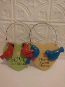 Heart Shaped Metal Bird Decorative Sign with Cardinals or Bluebirds 4 x 5 3D
