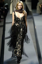 MARC JACOBS Gold Metallic Embroidered Slip Dress w/ lace pleats $3500K Size 4