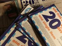 Lot of 48 x Bed Bath & Beyond 20% Off Coupons Assorted Expiration Dates BB&B