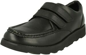 BNIB Clarks Boys Crown Tate Black Leather Air Spring School Shoes Size 1 F