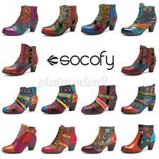 SOCOFY Women Genuine Leather Handmade Ankle Zipper Boots Splicing Block Sho