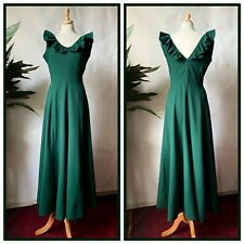 Vintage 1970s Bottle Green Polyester Fitted Maxi Dress Ruffle Boho Size 10 12