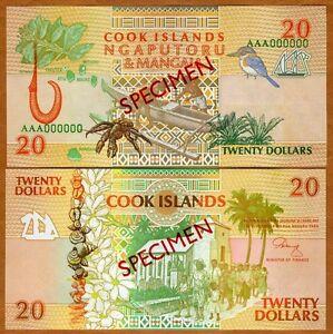 SPECIMEN, Cook Islands, $20, 1992, P-9 (9s) aUNC > Scarce