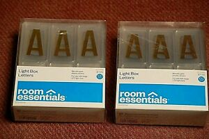 ( 2 packs) Light Box Letters Metallic Gold Letters Room Essentials 100 Count ea