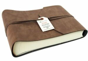 Viaggio Recycled Leather Photo Album, Small Tan - Handmade in Italy