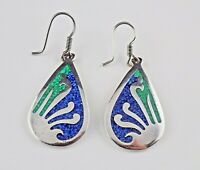 Taxco Mexico Solid Sterling Silver Hook Earrings Lapis, Malachite Chips TC-255